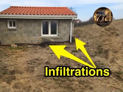 infiltration d'eau dans la maison par le jardin